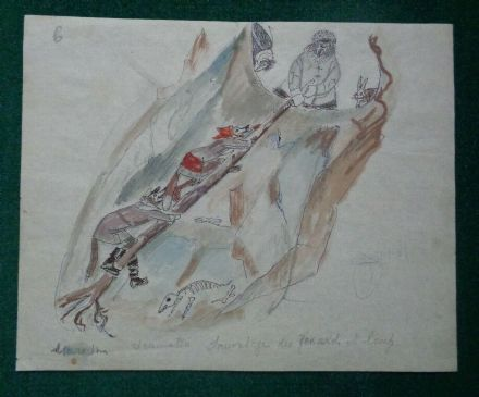 Antique Signed Watercolour Russian Artist Marevna Vorobieff Fairytale Wolf Bear